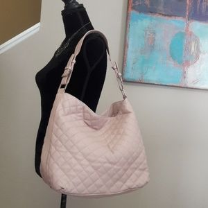 Top Shop/ Pale Pink Faux Leather/ Quilted Hobo Bag